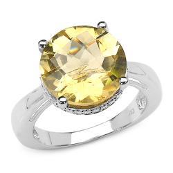 Malaika Sterling Silver Round-cut Citrine Bead Detail Ring