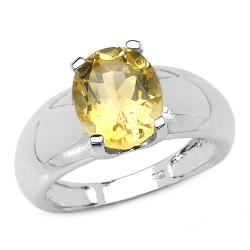 Malaika Sterling Silver Yellow Oval-cut Citrine Solitaire Ring