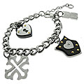 Black and Blue Jewelry Stainless Steel Multi-charm Bracelet