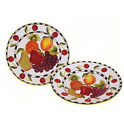 Fruit Delight Hand-painted 2-piece Serving Set
