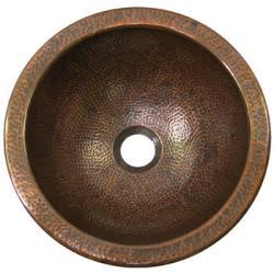 Small Round Antique Finish Copper Lavatory Sink