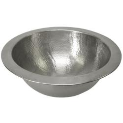 Small Round Copper Pewter Finish Lavatory Sink