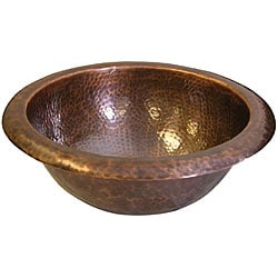 Small Round Antique-finish Copper Bathroom Sink