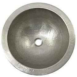 Large Round Copper Flat Lip Pewter Finish Bathroom Sink