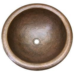 Large Round Copper Self Rim Antique Finish Bathroom Sink