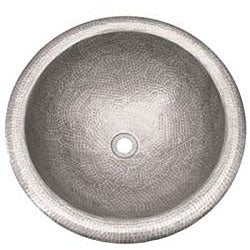 Large Round Copper Self Rim Pewter Finish Bathroom Sink