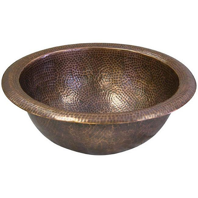 Medium Round Copper Self Rim Antique Finish Bathroom Sink