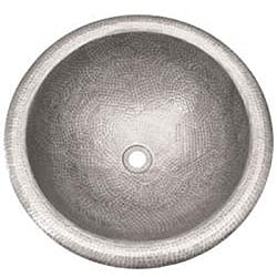 Medium Round Copper Self Rim Pewter Finish Bathroom Sink