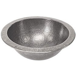 Medium Round Copper Flat Lip Pewter Finish Bathroom Sink