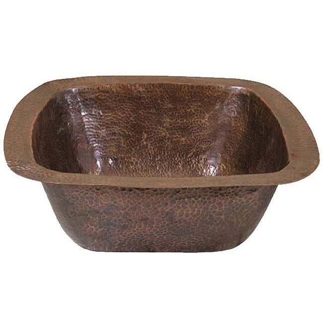 Large Copper Flat Lip Antique Finish Bar/Prep sink