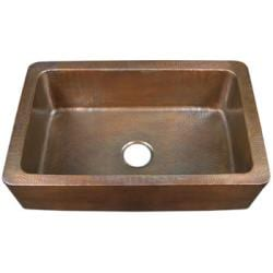 Single-bowl Copper Antique-finish Farmhouse Kitchen Sink