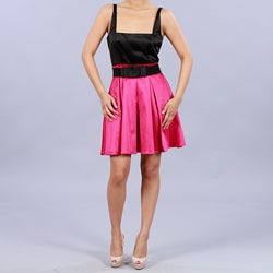 Wishes Women's Satin-like Colorblock Dress