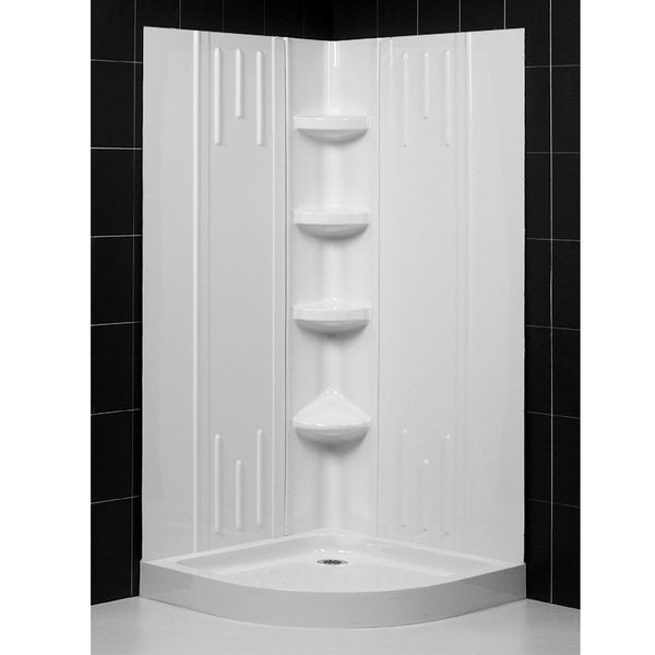 DreamLine Shower Back Wall and Quarter Round 32-inch Shower Tray Combo Kit