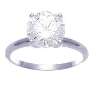 14k White Gold Prong Round-cut Moissanite Solitaire Ring