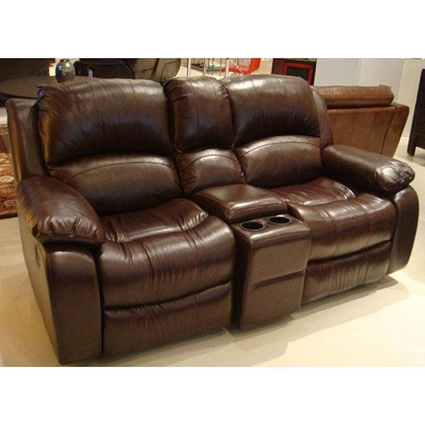 Tuscan Brown Italian Leather Reclining Loveseat