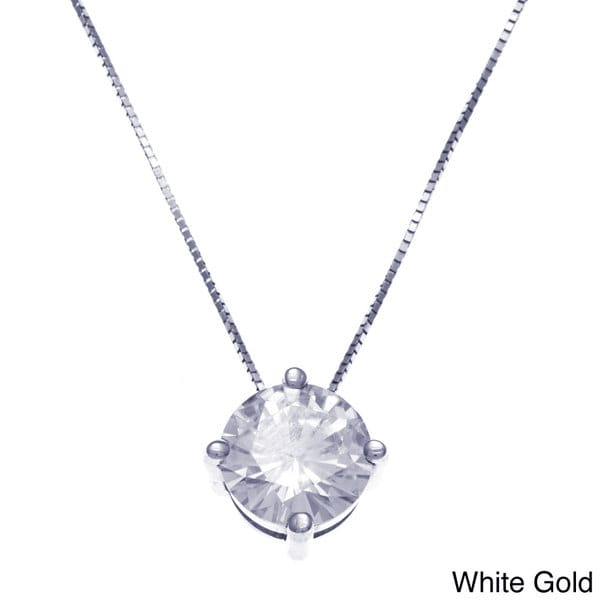 14k White Gold Round-cut Moissanite Solitaire Pendant Necklace