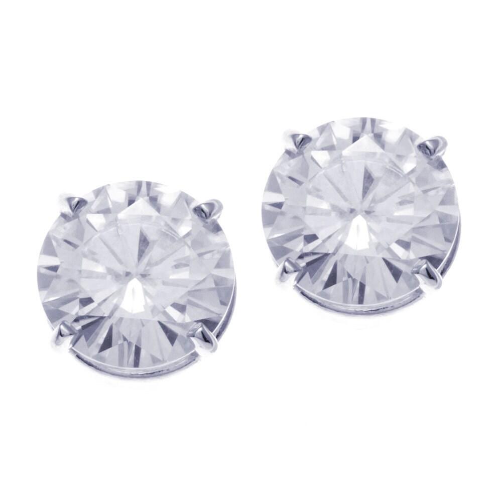 Moissanite Earrings White Gold 14k White Gold Round Moissanite Stud Earrings
