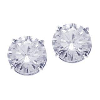 14k White Gold Round Moissanite Stud Earrings