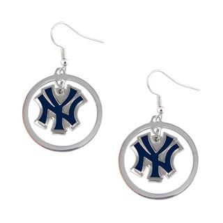 New York Yankees Dangle Logo Hoop Earrings