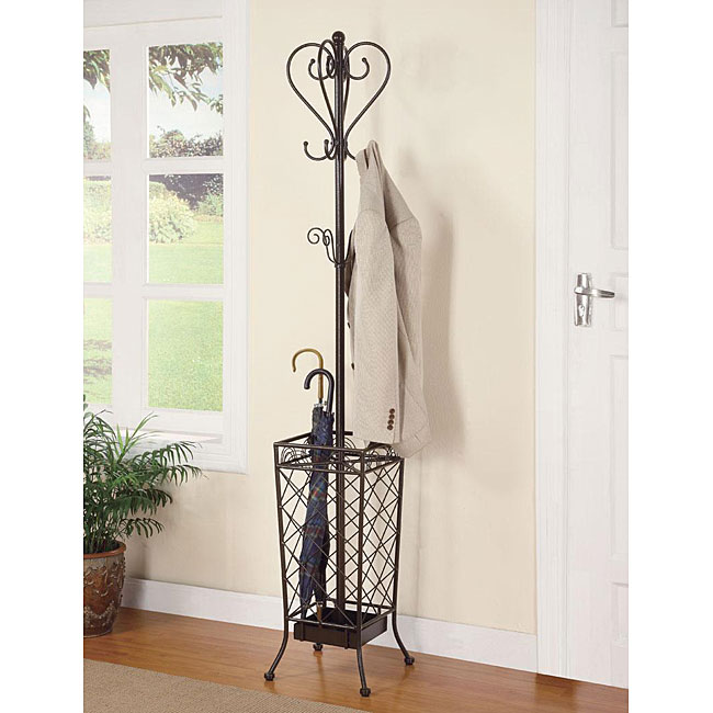 Classy Matte Brown Coat/ Hat Rack with Umbrella Stand
