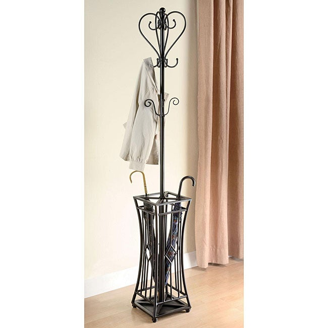 Black/ Silver Metal Coat/ Hat Rack with Umbrella Stand