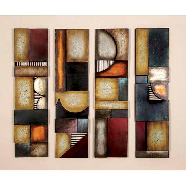 Geometric Multicolor Metal Abstract Wall Art Decor Plaques Set Of 4