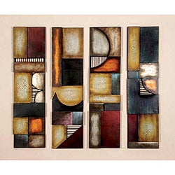 Geometric Multicolor Metal Abstract Wall Art Decor Plaques (Set of 4)