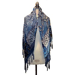 Embroidered Blue Velvet/ Silk Shawl