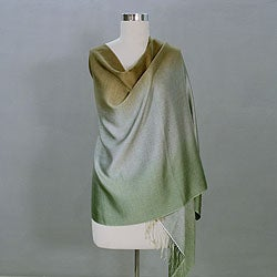 Silk and Wool 'Shimmering Earth' Shawl (India)