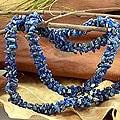 Azure Garland Natural Uncut Polished Blue Lapis Lazuli Gemstone Beads Cluster Strand Womens Long Necklace (India)