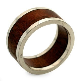 Forest Halo Contemporary Polished Brown Jacaranda Wood with Sleek 925 Sterling Silver Elegant Modern Mens Band Ring (Brazil)