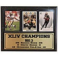 Super Bowl XLIV Champion New Orleans Saints 9x12 Three Card Plaque
