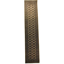 Pakistani Hand-knotted Bokhara Beige/ Black Wool Runner (2'8 x 12')