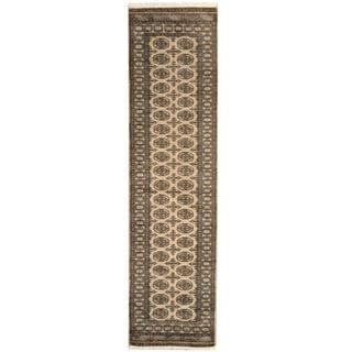 Herat Oriental Pakistan Hand-knotted Bokhara Beige/ Black Wool Runner (2'8 x 10')