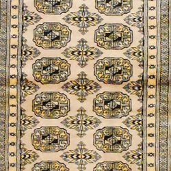 Pakistani Hand-knotted Bokhara Beige/ Black Wool Runner (2'8 x 10')
