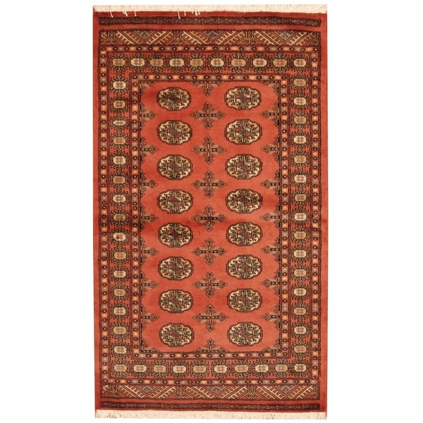 Herat Oriental Pakistani Hand-knotted Bokhara Peach/ Ivory Wool Rug (3' x 5')