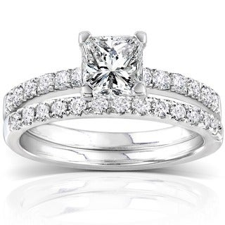 Annello 14k White Gold 1 1/2ct TDW Diamond Bridal Ring Set (H-I, I1-I2)