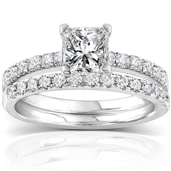 Annello 14k White Gold 1 1/2ct TDW Diamond Princess Cut Bridal Ring Set (H-I, I1-I2)