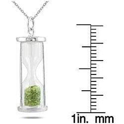 Sterling Silver 'Time in a Bottle' August Birthstone Peridot Pendant Necklace