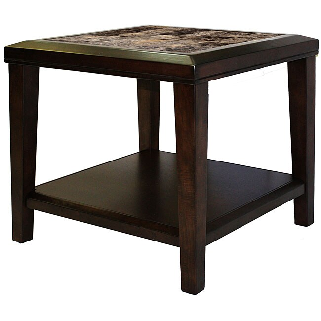Balboa Espresso Faux Marble Beveled Edges End Table