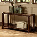 Balboa Espresso Faux Marble Beveled Edges Sofa Table