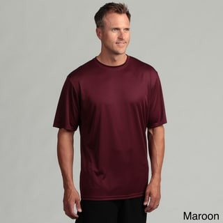 Men's Performance Moisture Wicking Crew Shirt with Hemmed Button and Sleeves