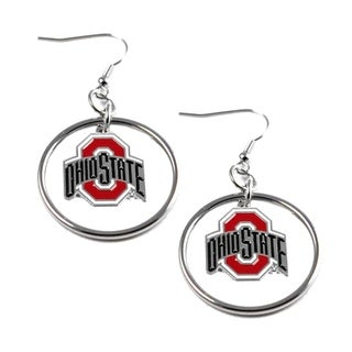 Stainless Steel NCAA Ohio State Buckeyes Logo Hoop Earring Set