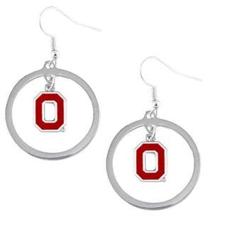 Stainless Steel NCAA Ohio State Buckeyes Logo Hoop Earring Set