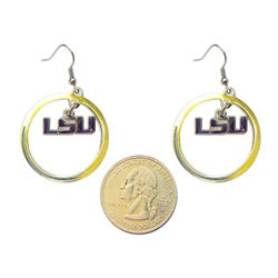 Stainless Steel NCAA LSU Tigers Logo Hoop Earring Set