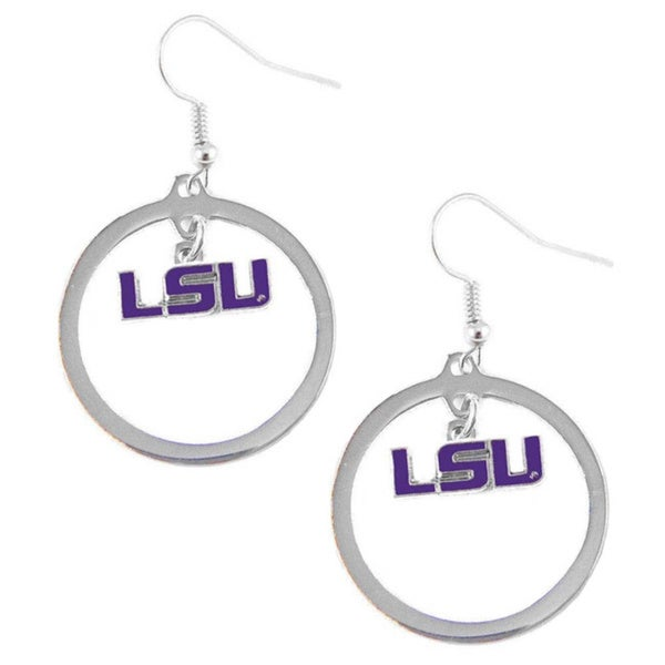 Stainless Steel NCAA LSU Tigers Logo Hoop Earring Set 6661268