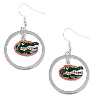 Stainless Steel NCAA Florida Gators Logo Hoop Earring Set