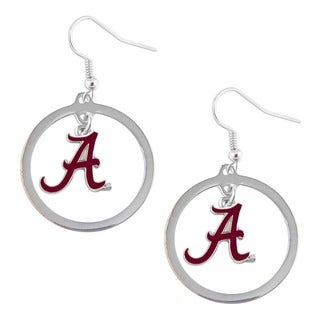 Stainless Steel NCAA Alabama Crimson Tide Logo Hoop Earring Set