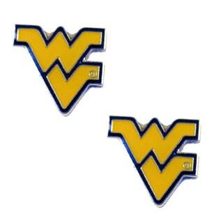 Stainless Steel NCAA West Virginia Mountaineers Logo Post Stud Earrings