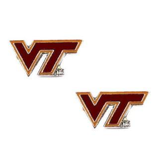 Stainless Steel NCAA Virginia Tech Hokies Logo Post Stud Earrings